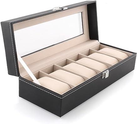 SYGA Wrist Watch Storage Box Display Case Organizer of Faux Leather Finish with Glass Window 6 Slot 30x8x11 cm