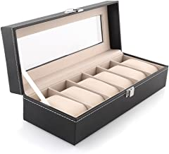 SYGA Wrist Watch Storage Box Display Case Organizer of Faux Leather Finish with Glass Window 6 Slot 30x8x11 cm