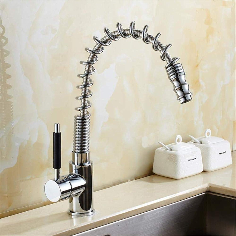 Spüle Wasserhahn Einhand-Rotationsdüse aus massivem Messing Mischbatterie mit ausziehbarem Wasserhahn