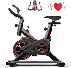 Exercise Bike Indoor Cycling for Home/Gym Use with Heart Rate Monitor, LCD Display, Adjustable Handlebars & Seat, Chromed ...