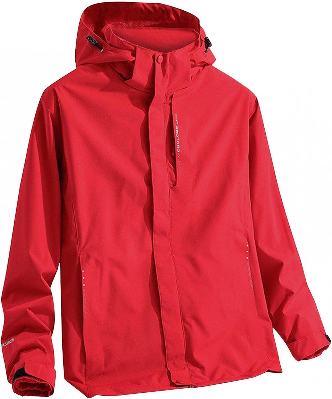 JSPOYOU Men's Lightweight Hoodies Hiking Jacket Detachable Liner Waterproof Outdoor Raincoat for Mountain,Fishing,Runing