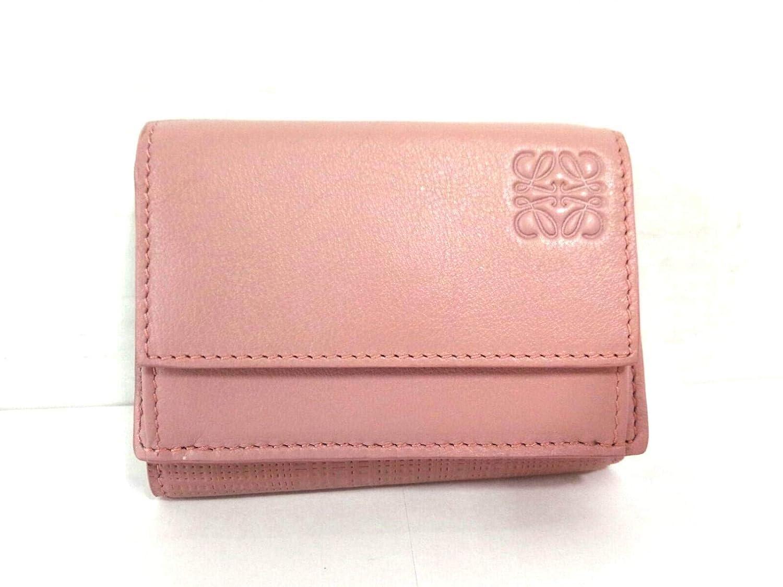 (ロエベ)LOEWE 3つ折り財布 リネン/トライフォールド ウォレット ブラッシュ 101.88.S26 【中古】