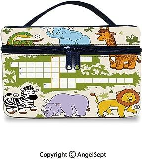 Fashion Travel Makeup Case,Colorful Crossword Game for Children Wild Jungle Safari Animals Grid Decorative Multicolor,10x7x6inches,Cosmetic Case Organizer Portable