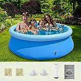 Kacsoo Aufblasbarer Pool 240 * 240 * 63cm PVC verschleißfester Dicker Planschbecken selbstaufbauend Ocean Ball Pool kann 6-8 Personen runder aufblasbarer Pool,für Garten und Outdoor
