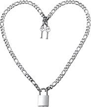 NYUK Lock Necklace for Men Stainless Steel Padlock Chain Silver 20-26 Inches
