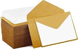 140 ظرف صغير مع بطاقات ملاحظات بيضاء فارغة، واظرف صغيرة 4 × 2.7 لبطاقات العمل، وبطاقات الهدايا (ذهبي)