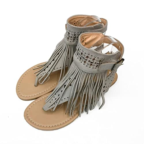 d15025c9d Qisc Womens Suede Tassels Thong Flat Sandals Flip Flops Fringe Shoes for  Summer