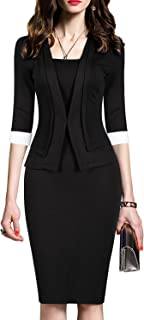 Women's 2/3 Sleeve Colorblock Slim Bodycon Business Pencil One-Piece Dress