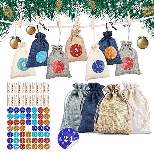 HOSPAOP Adventskalender zum Befüllen 24 Adventskalender Stoffbeutel mit 24 Adventszahlen Aufkleber, Weihnachtskalender, DIY Festival Geschenksäckchen, Jutesäckchen Bastelset