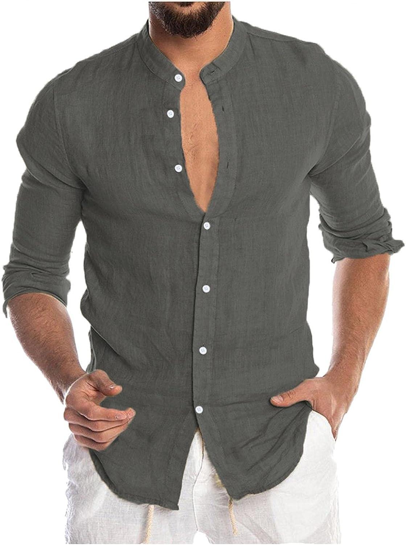 Aayomet Men's Cotton Linen Shirts Solid Long Sleeve Button Down T-Shirt Yoga Casual Loose Sport Beach Tee Shirts Tops