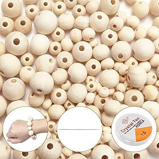 koitoy 182 Stück Holzperlen zum Auffädeln,6mm bis 14mm Natur Runde Gemischte Holzkugeln mit locher groß Perlen für Kinder und Erwachsene Bastelset DIY Schmuck Herstellung 182pcs