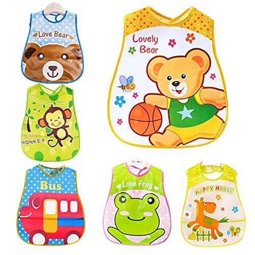 Unisex Baberos Bebe Guarderia 6 Pcs Baberos Impermeables Para Bebe Niña Niño Dibujos Animados Multicolor