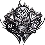 Diseño de calavera dados 8Ball hierro bordado/coser en insignia parche–Chaqueta de moto
