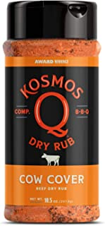 Kosmos Q Cow Cover BBQ Rub | Savory Blend | Great on Brisket, Steak, Ribs & Burgers | Best Barbecue Rub | Meat Seasoning & Spice Dry Rub | 10.5 oz Shaker Bottle