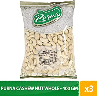 Purna Cashew Nut Whole - 400 gm(Pack of 3)