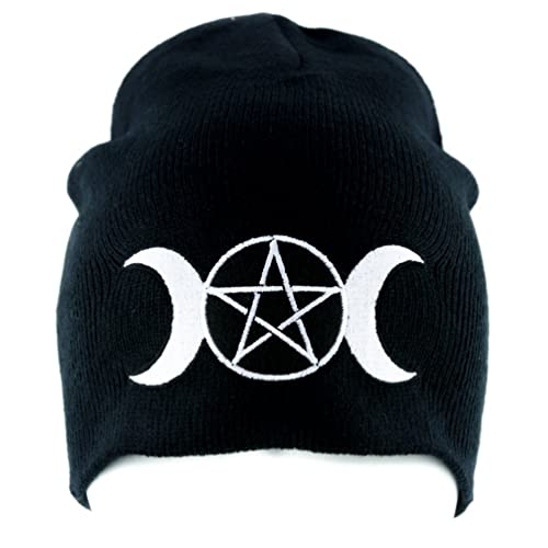d8b14608545 Triple Moon Goddess Wicca Beanie Knit Cap Alternative Clothing Pagan  Witchcraft Black