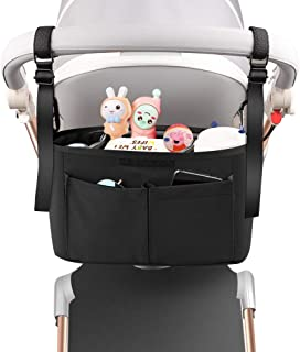 Baby Stroller Organizer with Cup Holder, Universal Non-Slip Stroller Accessories Caddy Bag Fits for Uppababy, Baby Jogger,...