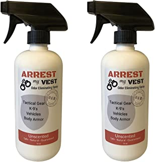 Arrest My Vest Military and Police Grade Odor Eliminating Spray for Body Armor, Tactical Gear. Safe on K9`s, Ballistic Vests and All Fabrics Including Leather - Unscented - 2 16 oz Bottles