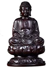 Black Sandalwood Carved Sitting Buddha, Handmade Ebony Shakyamuni Statue Figurine, Classical Ming and Qing Buddha Sculptur...