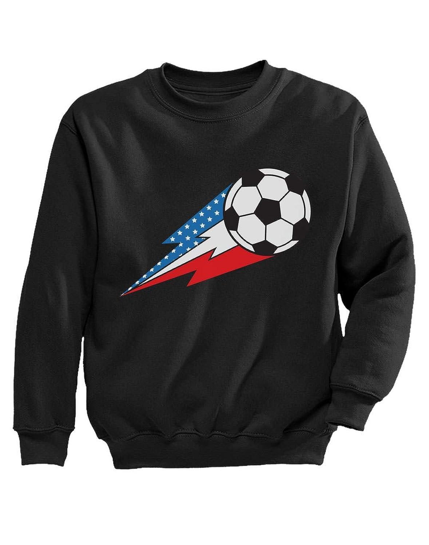 Tstars - サッカーボールアメリカ国旗 クールアメリカサッカー サッカーボールとアメリカフラッグ スポーツサッカーアメリカ キッズスウェットシャツ