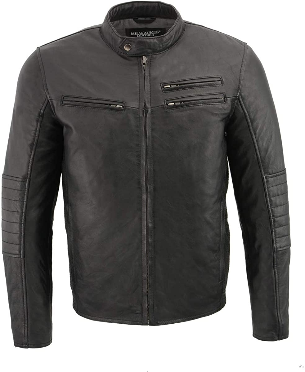 Milwaukee Leather SFM1806 Mens Black Euro Collar Caf/é Leather Jacket