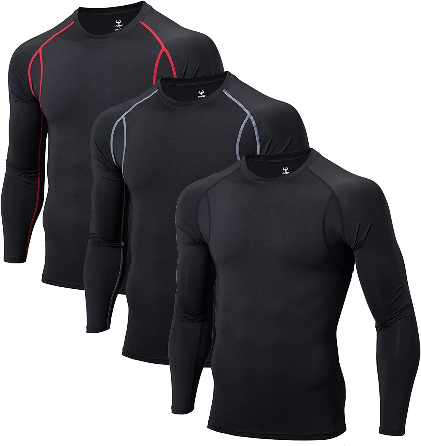 FUNGIK Long Sleeve Compression Shirts Fees free for Men 3 5% OFF Men's Pack Cool