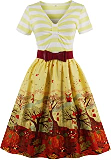 e3b88d246c8 Wellwits Women s V Neck Short Sleeve Stripes Patterned Swing Dress with Belt