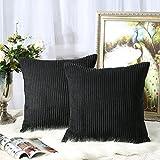 Miaote - Juego de 2 fundas de almohada decorativas para sofá, cama, sofá, cama a rayas, funda de...