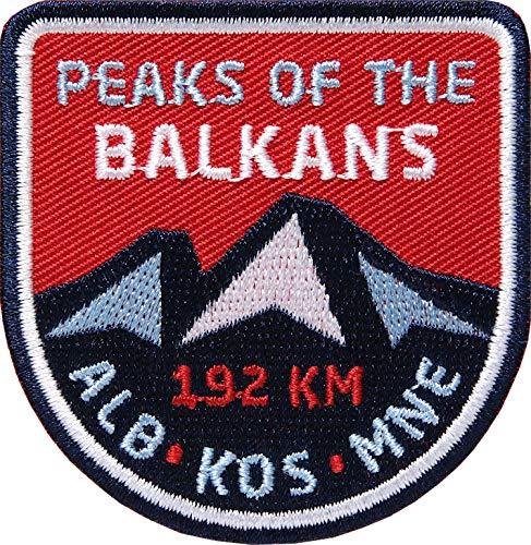 2 x Peaks of The Balkans Trail Aufnäher gestickt 62 mm/Patch Aufbügler Flicken Wappen Sticker zum Aufnähen Aufbügeln/Balkan Albanien Kosovo Montenegro Wanderweg Bergsteigen Prokletije Gebirge