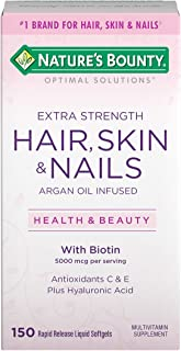 Extra Strength Hair Skin and Nails Vitamins by Nature's Bounty Optimal Solutions, with Biotin and Vitamin B, Supports Skin...