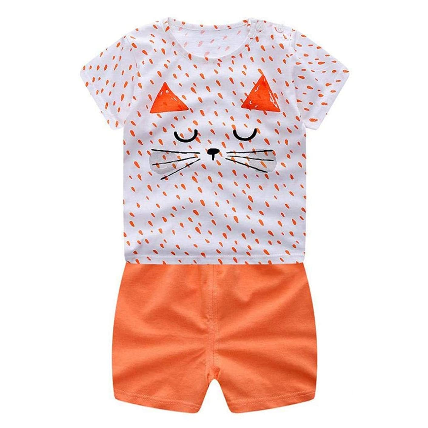 0-3T Toddler Kids Baby Boys Girls 2pcs Outfit Set Cute Cartoon Summer Tops T-Shirt +Shorts Leggings Clothes