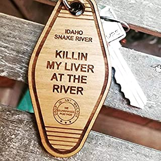 Custom Engraved Retro Wood Hotel Key Chain, Vintage Key Tag