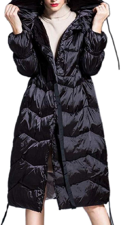 ZXFHZSCA Women Fashion Winter Zip Up Puffer Hooded Fleece Down Jacket Coat