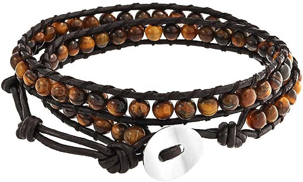 Bling Jewelry Brown Tiger Eye Genuine Black Brown Leather Strand