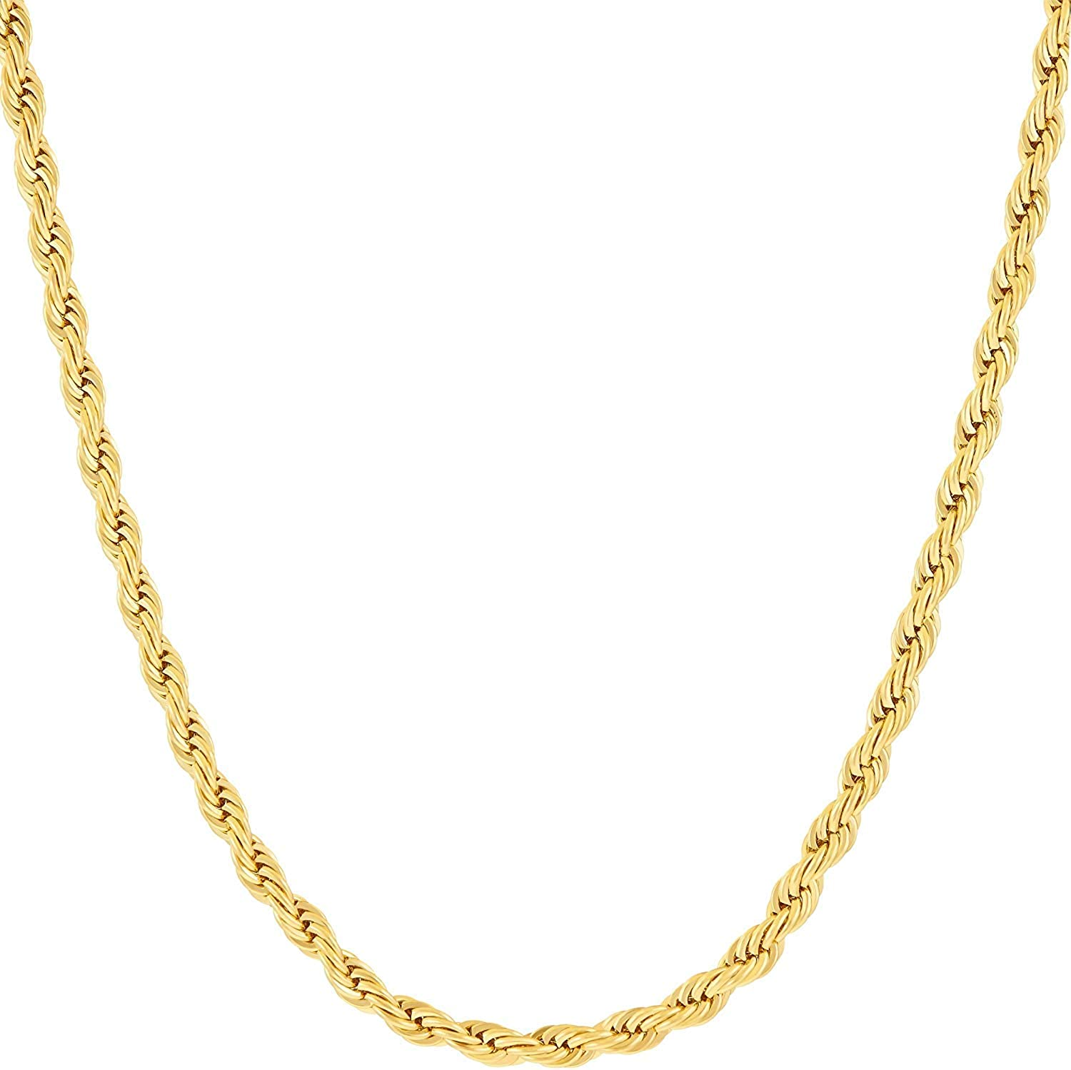 Hollywood Jewelry Daily bargain sale 3mm Rope Chain Necklace Real New York Mall Gold 24k Plated f