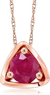 Gem Stone King 10K Rose Gold 0.55 Ct Round Red Ruby Pendant with Chain