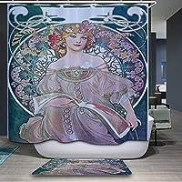 AUGHTM ヨーロッパスタイルのポリエステル3Dシャワーカーテンイエスの誕生油絵パターンバスルーム用防水バスカーテン