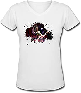Jiaso Women's The Pretenders Chrissie Hynde V-Neck Cotton T-Shirt DeepHeather