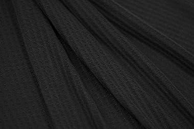 Fabric Merchants Waffle Knit Solid Fabric by The Yard, Black 10 Yards