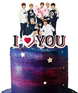 BTS Cake Topper Birthday Decoration Party Supplies Cupcake Toppers for Girl, I Love You, 1 count