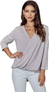 minqi Women's Casual Deep V Neck Wrap Top 3/4 Sleeve T Shirt Tee Blouse