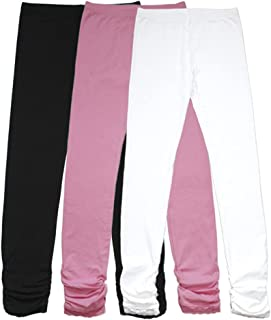 Girl's Knit Cotton Stretch School Uniform Antistatic 3 Leggings Pack