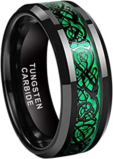iTungsten 8mm Tungsten Rings for Men Women Wedding Bands Carbon Fiber Based Celtic Dragon Inlay Beveled Edges Comfort Fit