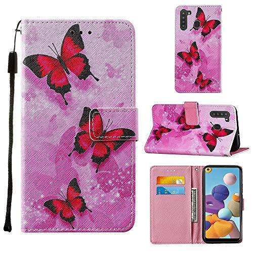Miagon Lanyard Brieftasche Etui für Samsung Galaxy A21,Schön Rosa Schmetterling Entwurf Pu Leder Magnetverschluss Weich Innere Buchstil Schutzhülle Klapphülle mit Standfunktion