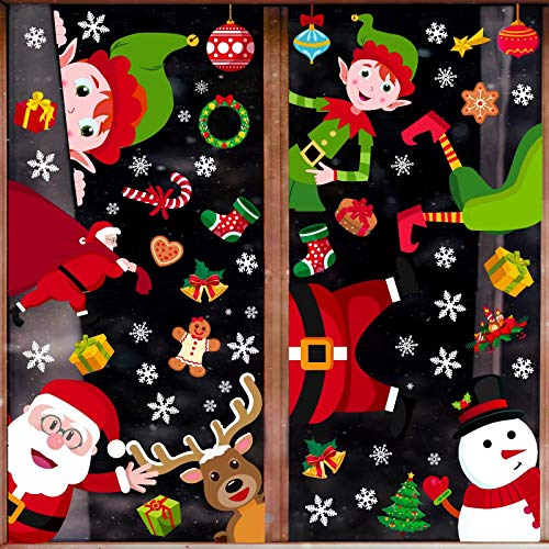 90shine 314PCS Christmas Window Clings Snowflake Decorations Winter Wonderland Xmas Party Supplies Santa Claus Elf Decals