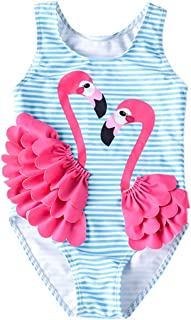 Baby Girl One Piece Swimsuit Swimwear Toddler Kid Flamingo Bikini Bathing Suit Sunsuit Rash Guard 1-5t