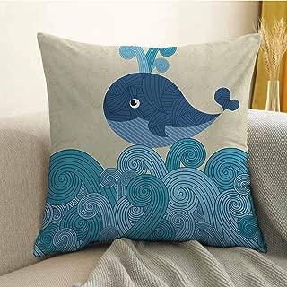 Antony Petty Whale Printed Custom Pillowcase Cartoon Smiley Cute Patterned Whale with Ornamental Striped Waves Image Print Decorative Sofa Hug Pillowcase W24 x L24 Inch Blue and Dark Blue