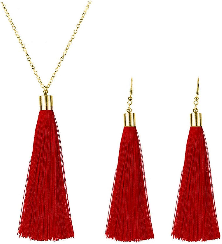 Dcfywl731 Long Tassel Necklace Earrings Set for Women Long Dainty Tassel Dangle Earrings Bohemian Jewelry Set for Girl (Red)