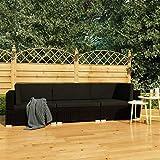 UnfadeMemory Conjunto de Sofás Exterior de Jardín con Cojines,Muebles Terraza Exterior,Ratán Sintético (Negro, 3 Piezas)