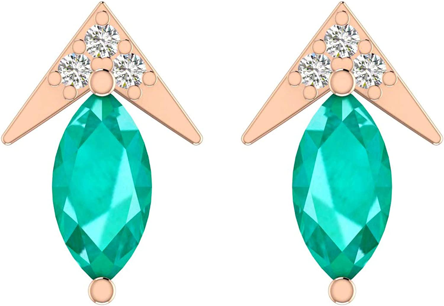 ASHNE JEWELS IGI Certified Natural White Diamond (I1-I2 Clarity and G-H Color) Stud Earrings Made in Solid Gold Studded With Natural Emerald For Women and Girls